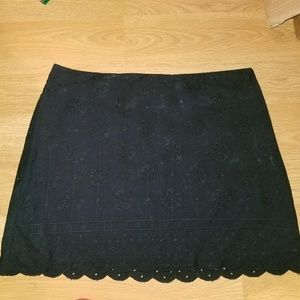 Scalloped Black Mini Skirt